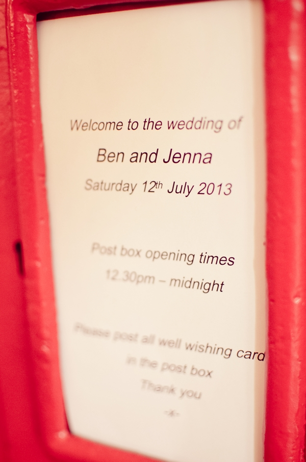 Message on wedding card post box