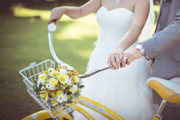 Bicycle basket with bridal bouquet