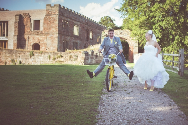 Groom riding bike at Astley Castle