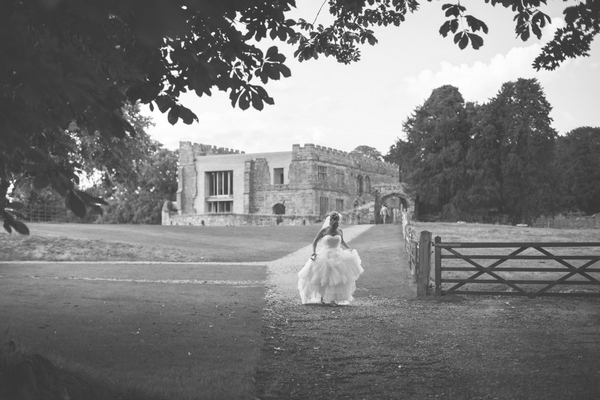 Bride in grounds of Astley Castle