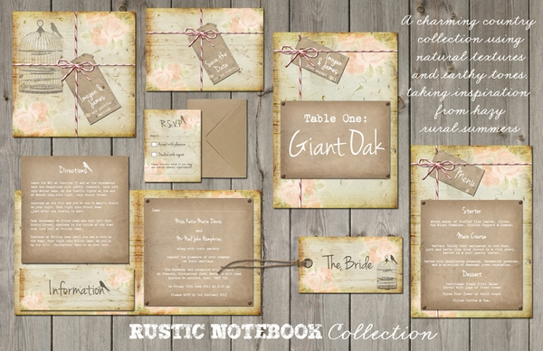 Rustic Notebook Wedding Stationery - Lucy Ledger Designs
