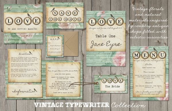 Vintage Typewriter Wedding Stationery - Lucy Ledger Designs