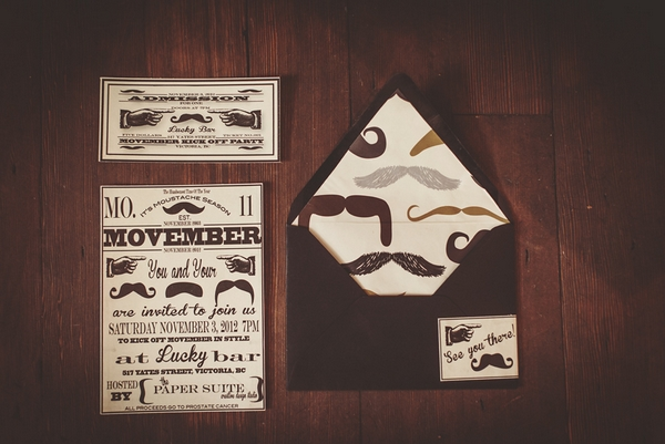 Movember wedding stationery