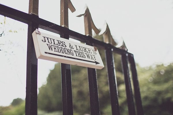 Wedding sign on gate