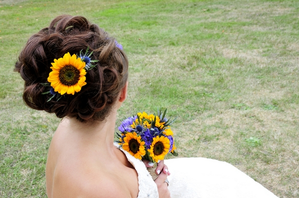 Bride with sunflower in hair