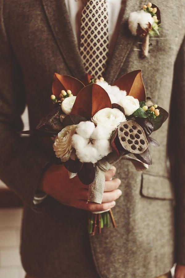 Man holding bouquet
