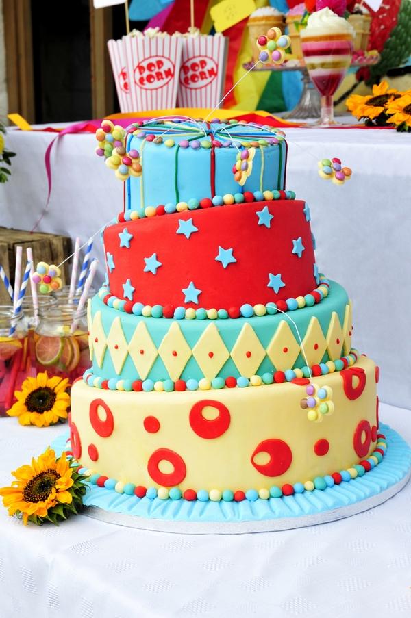 Carnival style wedding cake