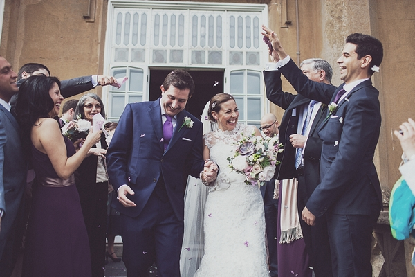 Wedding confetti shot at Nonsuch Mansion