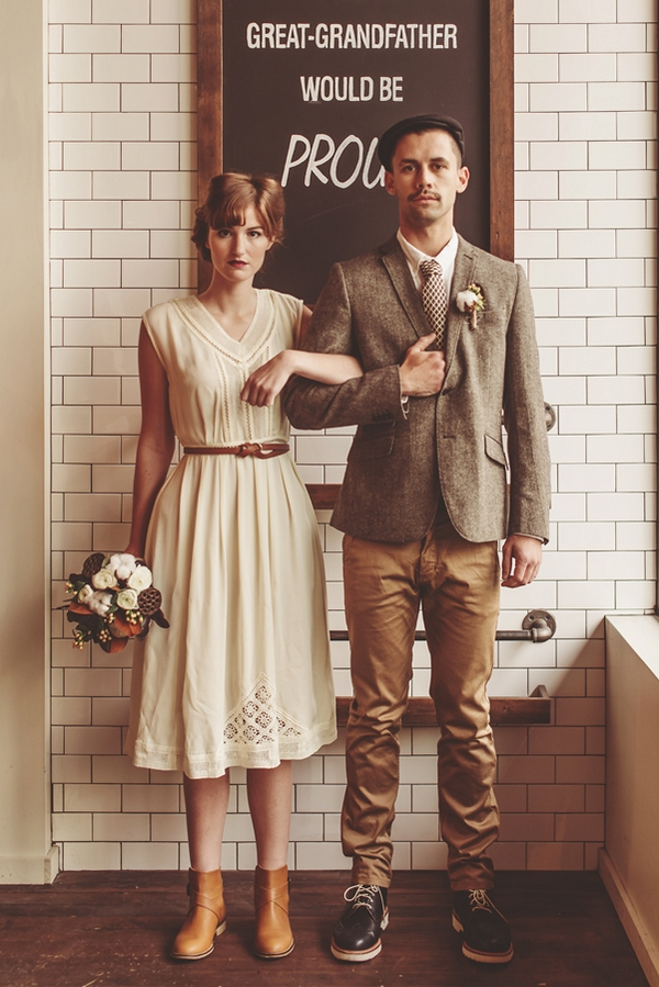 Vintage bride and groom with arms linked