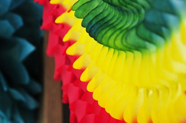 Coloured paper decoration