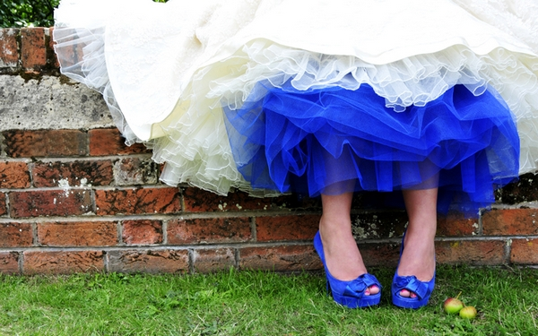 Wedding dress with blue lining