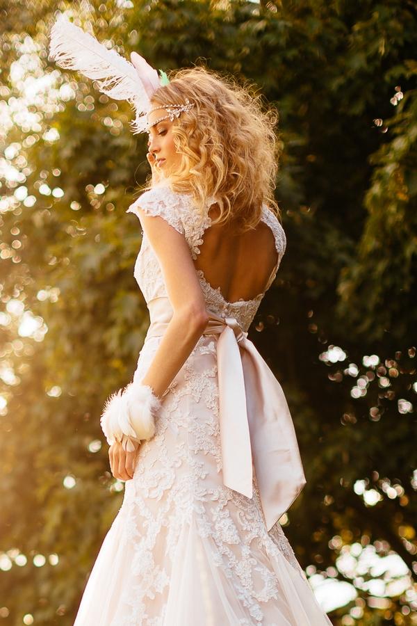 Boho bride with open-back dress