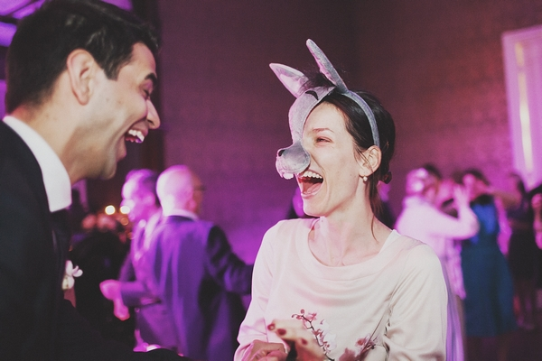 Bride with rabbit face mask