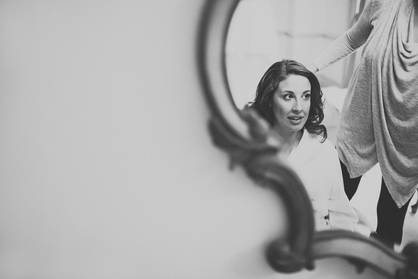 Bride's reflection in mirror