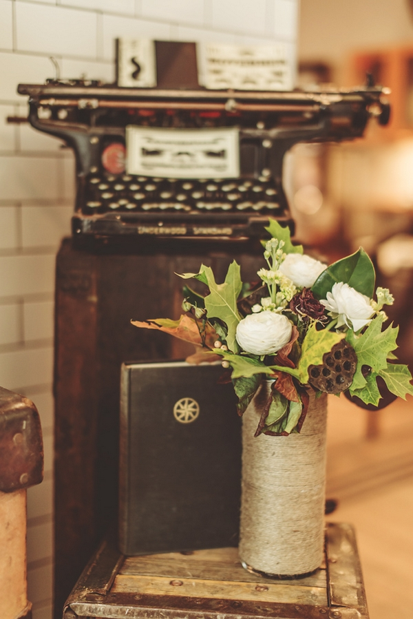 Flowers and old typewriter