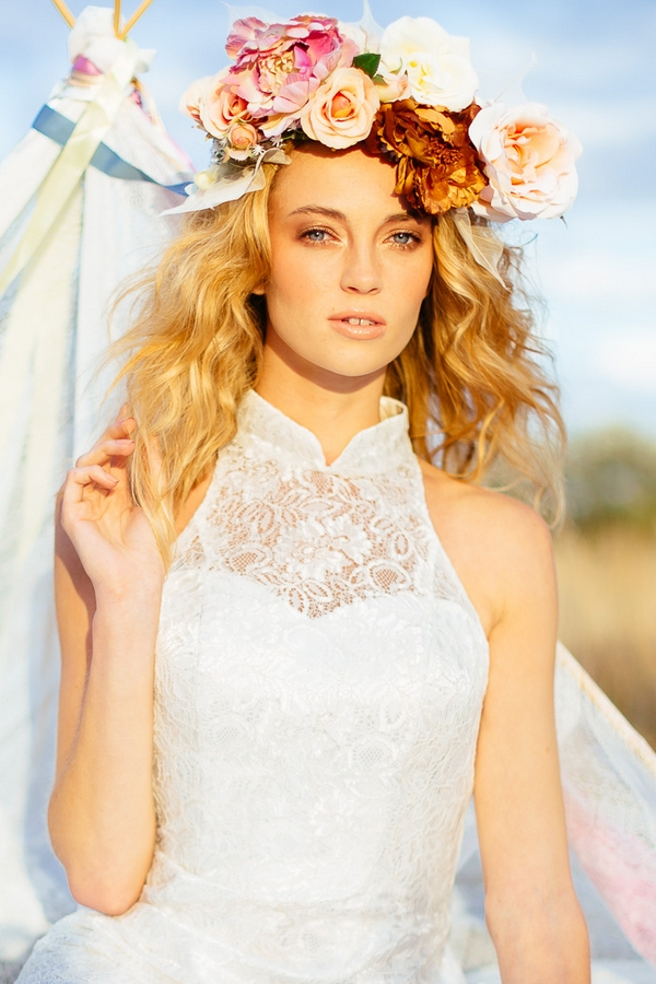 Boho bride with lace dress and flower crown