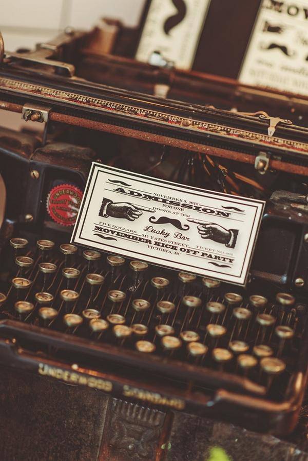 Movember admission ticket on typewriter