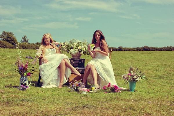 Vintage brides sitting down