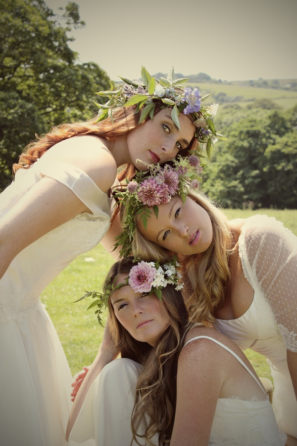 Three vintage brides with floral headpieces