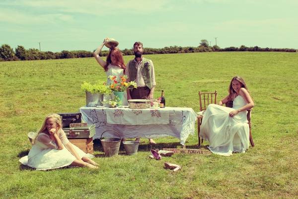 Vintage brides and groom in floral shoot