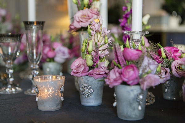 Small pots of wedding table flowers