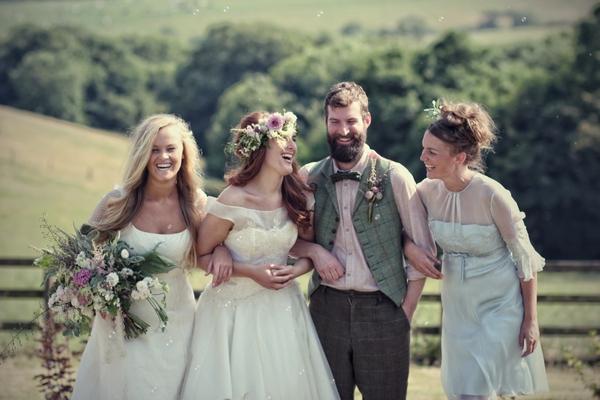 Vintage brides and groom laughing