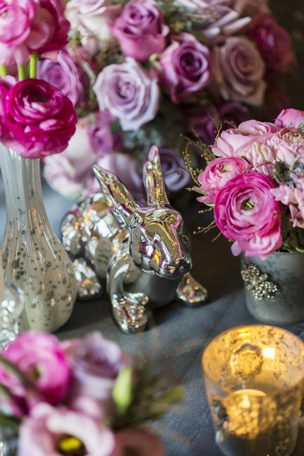 Silver rabbit table decoration