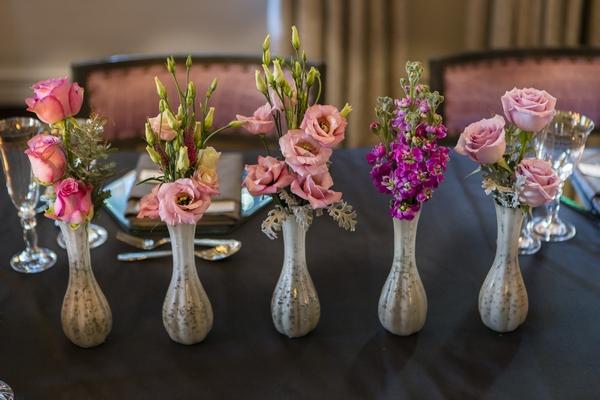 Vases of wedding flowers