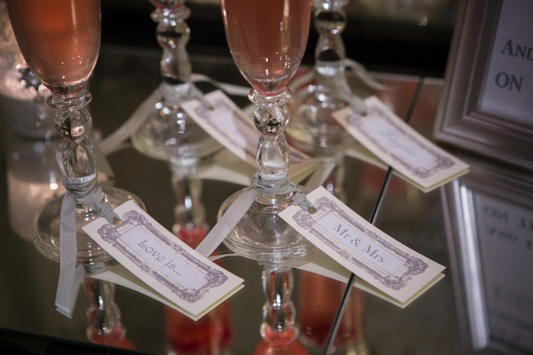 Tags on Champagne glasses