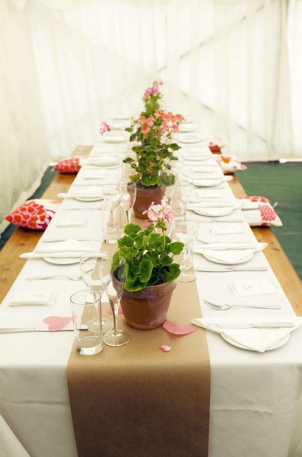 Wedding table with pot plants