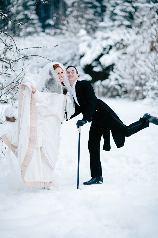 Groom with leg in air