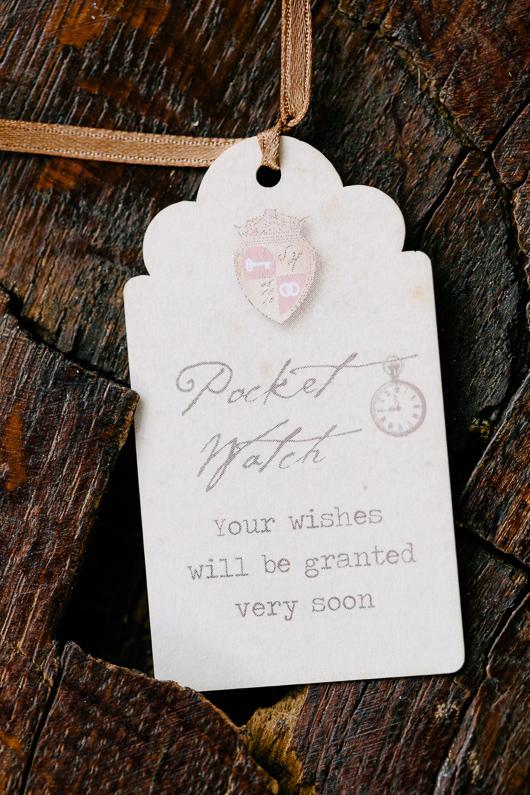 Alice in Wonderland pocket watch luggage tag