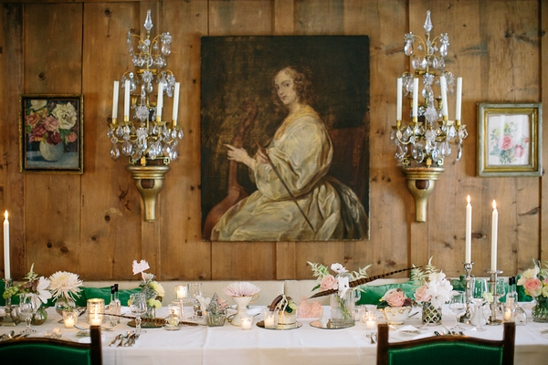 Painting behind wedding table