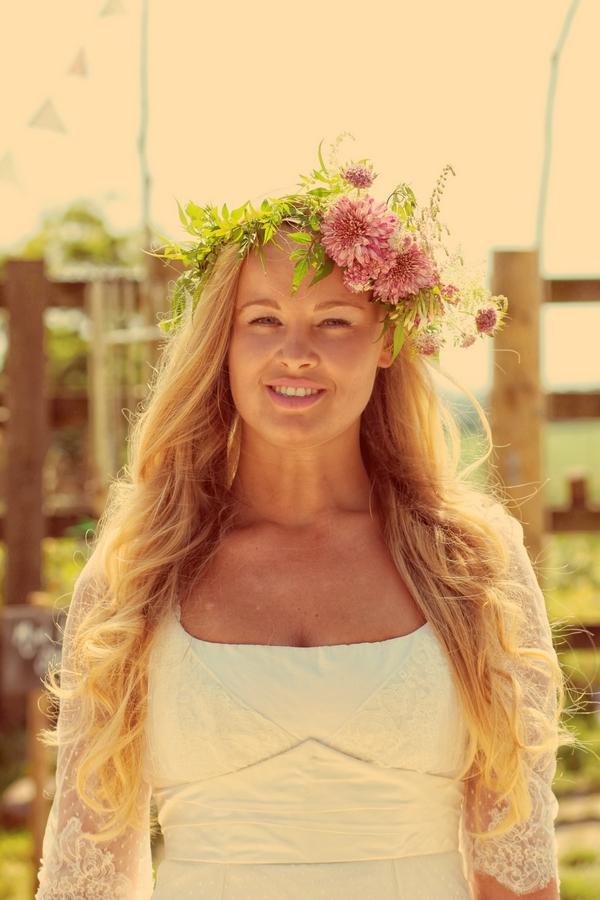 Bride with floral headpiece