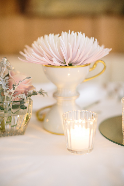 Flower and tealight on wedding table