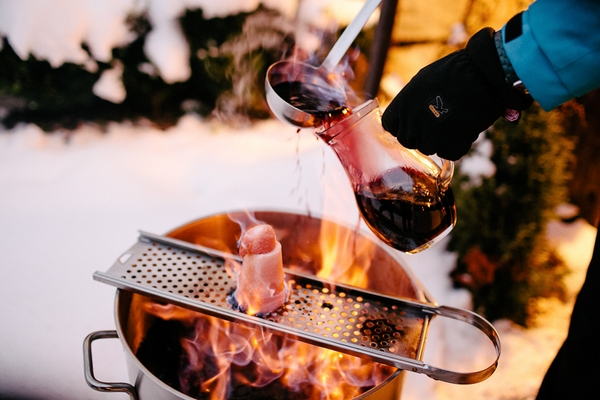 Mulled wine over open fire