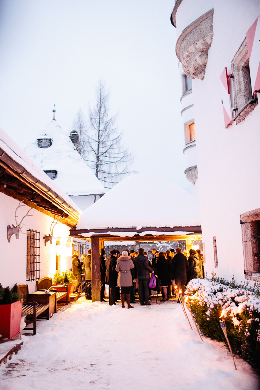 Wedding reception drinks in snow