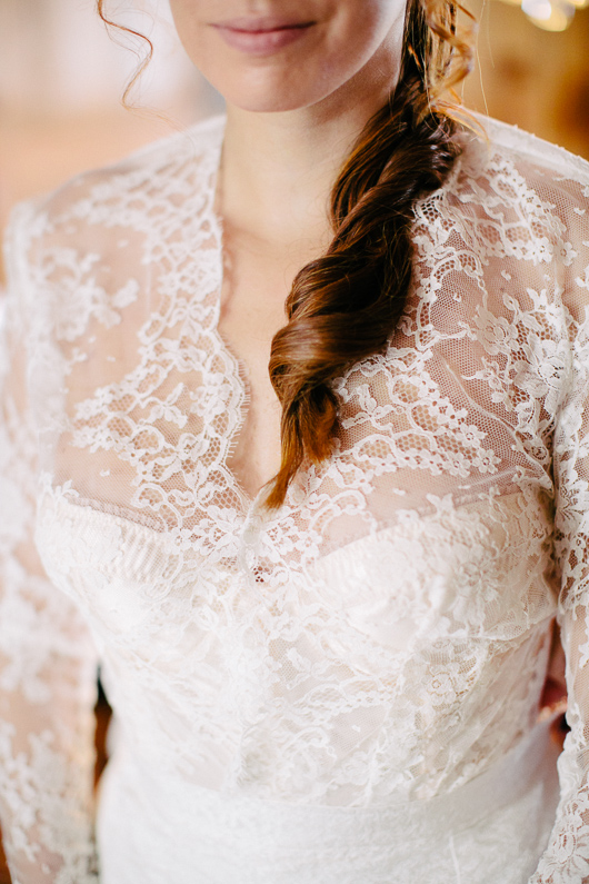 Lace detail on wedding dress