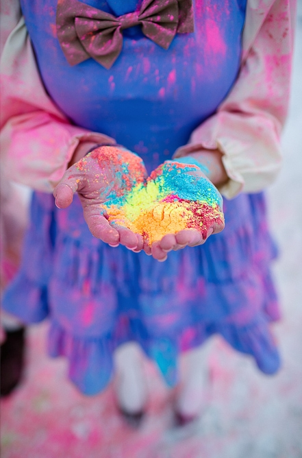 Bridesmaid holding holi powder