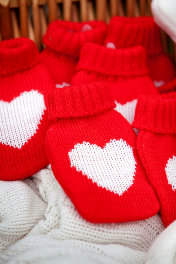 Red and white heart hot water bottles