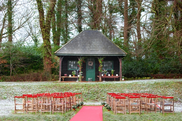 Outdoor wedding ceremony seating at deer park
