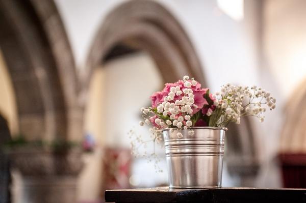 Silver bucket of flowers