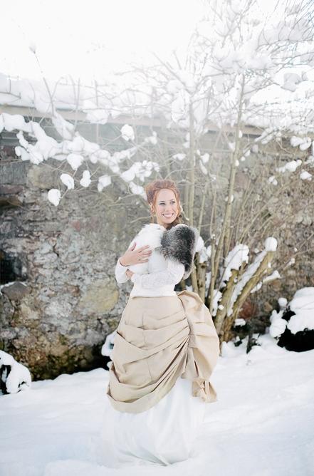 Bride holding rabbit