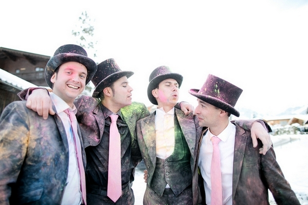 Groomsmen covered in holi powder