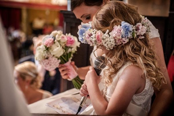 Flower girl reading