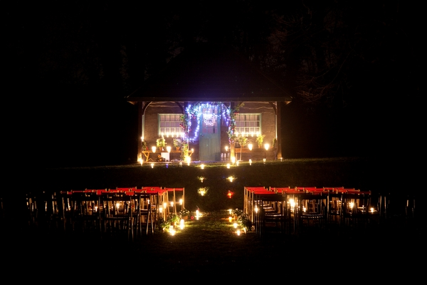 Outdoor wedding ceremony at night