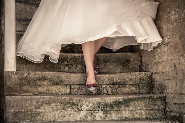 Bride walking down steps