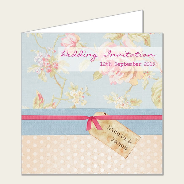 Shabby Chic Polka Dot Roses Wedding Invitation from Dotty About Paper