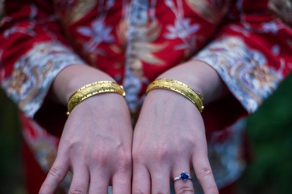 Bride showing bracelets