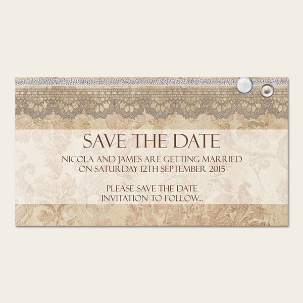 Vintage Damask Save the Date Magnet from Dotty About Paper